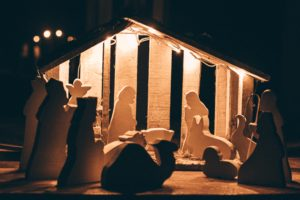 Simple wooden nativity scene