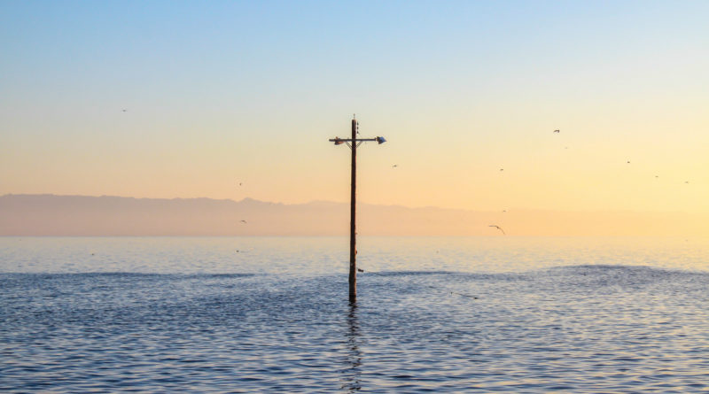 Cross-shaped telegraph pole sticking out from a body of water