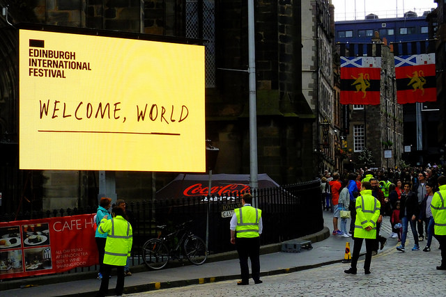 Edinburgh Internation Festival's 'Welcome World' banner