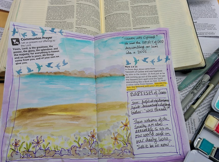 Bible journalling Lent 1: Jesus' baptism, with Jane MacLaren